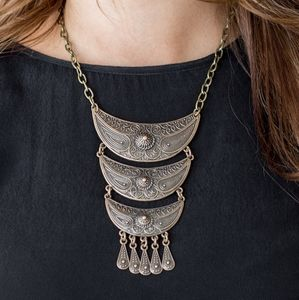 Paparazzi Go Steer Crazy Brass Necklace Set